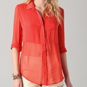 Free People Best of Both Worlds Button Down Sheer